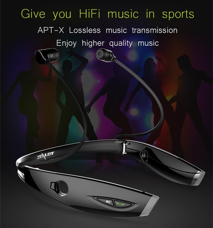 Neckband Bluetooth Sport Stereo Headset Zealots H1 HiFi Headphones With Mic For iPhoneSamsung Handfree Call (5)