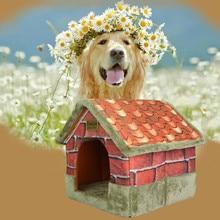 Vintage ladrillo portátil interior mascota cama perro casa suave cálida y cómoda cama de perro Casa de perro que se calienta nido de Material suave