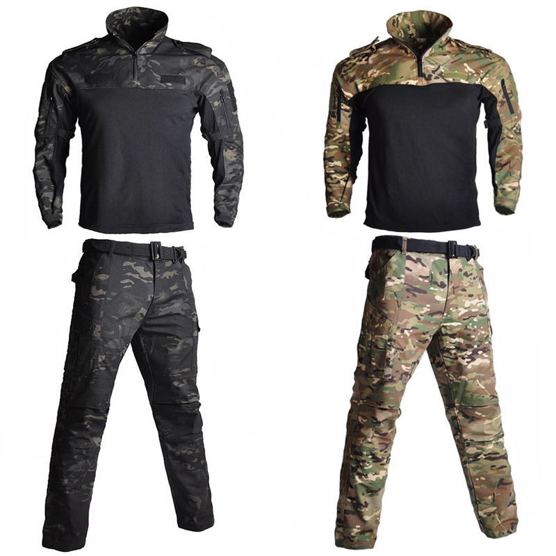 Tactical Camouflage Military Uniform Clothes Frog Suits Men Hunting Training Ghillie Suit Airsoft Sniper Combat Shirt