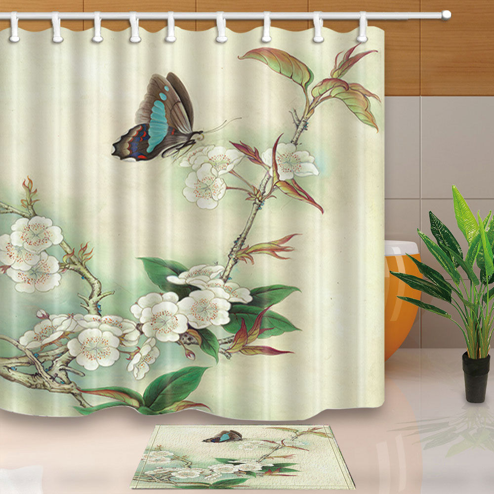 Warm Tour Butterflies and Cherry Blossoms Polyester Fabric Bathroom Shower Curtain Set with Hooks