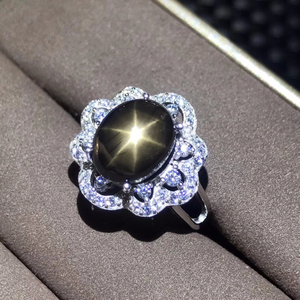 Anillo de zafiro Natural, zafiro de estrella, certificado de autenticidad, tamaño personalizado de plata 925, 5 quilates de piedras preciosas-in Anillos from Joyería y accesorios    3