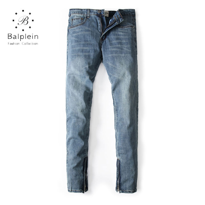 Balplein Brand Mens Jeans Blue Color Elastic Stretch Denim Slim Fit Jeans Men Pants Ankle Zipper Skinny Men Jeans Streetwear 2017 fashion patch jeans men slim skinny stretch jeans ripped denim blue pants new famous brand mens elastic jeans f701