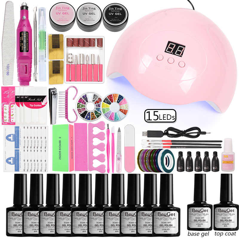 Nail Set voor Manicure Gel Vernis Nagellak Extension Gel 36 w/48 w/80 w Led Uv lamp Elektrische Machine Manicure Accessoires Set