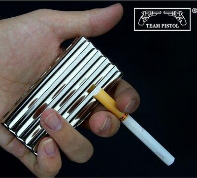 Novo 1 pçs corrugado design prateado branco cobre caixa de cigarro linhas metal cigarro caso titular caixa para 10/20 cigarros|Acessórios para cigarros| |  - title=