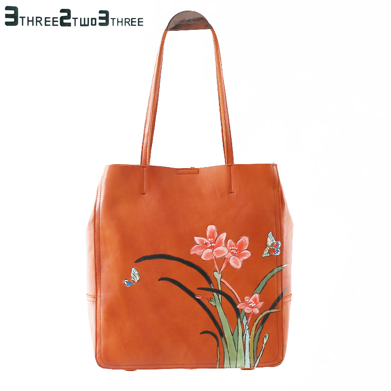 323 Chinese style women's leather shoulder bag, large capacity brand design embroidery flower decorative women's shoulder bag колодки 323