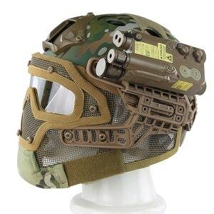 Image 4 - Airsoft Helm Paintball Full Face Militaire Beschermende Gezichtsmasker Tactische Camouflage Masker Volgelaatsmasker Snelle Helm Met Masker