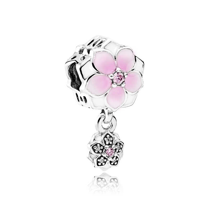 Alta calidad cristal amor corazón flor corona cereza colgante cuentas ajuste Pandora europeo DIY Original brazaletes mujer fabricación joyería