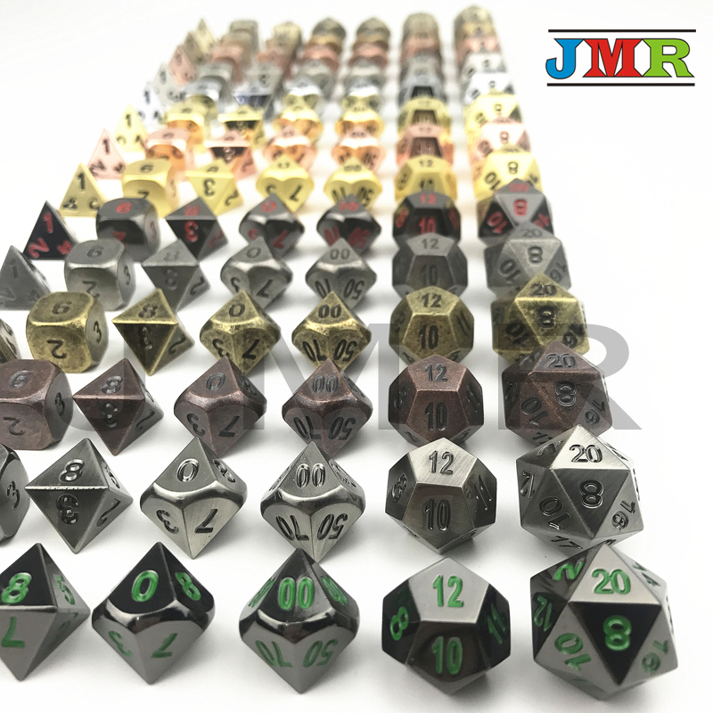 7pc/set Metallic Dice Juegos De Mesa Dados Rpg,Set Of D4-D20 Polyhedral Dice For Rpg Dungeon And Dragons,Game Playing