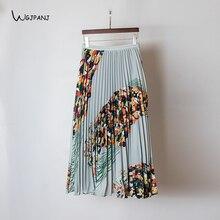 b9d72ad2bfa4 Light Blue Pleated skirt High Quality 2019 Spring Empire A Line Casual Floral  Print Long skirt