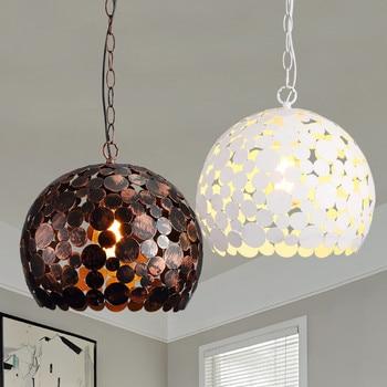 Post-modern Pendant Lights personality Iron Ball Lampshade Pendant Lamp Kitchen Hanging Lamp Light Fixture Lustre E27 Bulbs