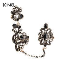 New Arrival Adjustable Turkish Two Finger Rings For Party Women Black Resin Hollow Out Flower Design