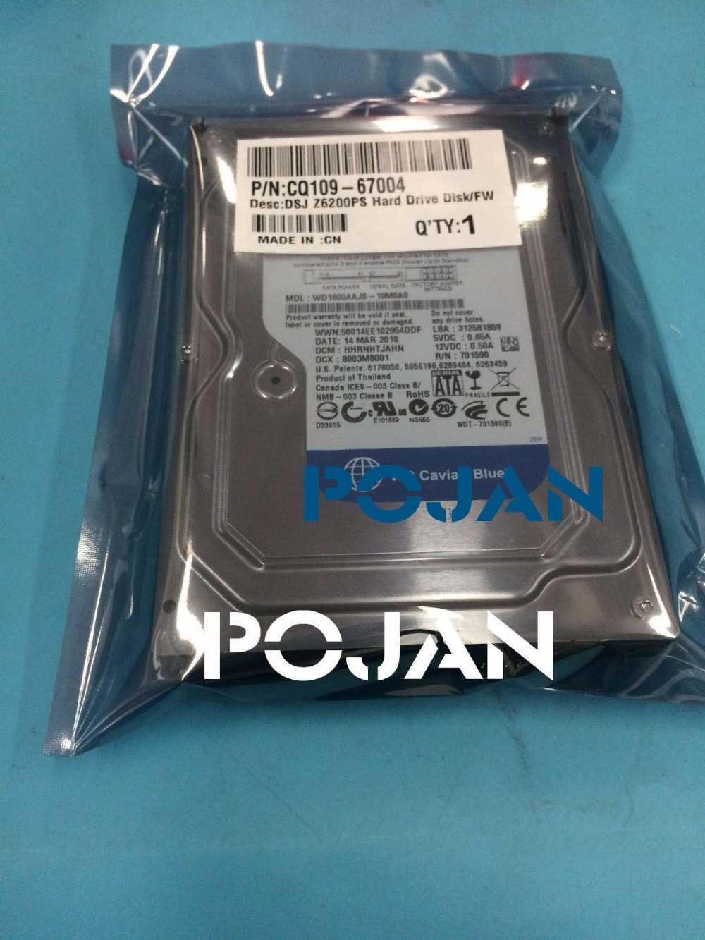 SATA HDD Hard Drive Disk for  Designjet Z6200  Sata HDD With FW CQ109-67015 CQ109 CQ111  ink plotter parts