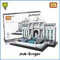 Mr. froger fontana di trevi world famous arquitetura loz mini blocos brinquedos para crianças modelos de construção kits criador bloco de tijolo