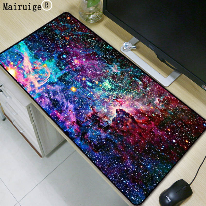 Laumans Outer Space Gamer Play Mats Lock Edge Waterproof Mousepad Size For 300*800*2mm And 400*900*3mm Design Large Mouse Pad
