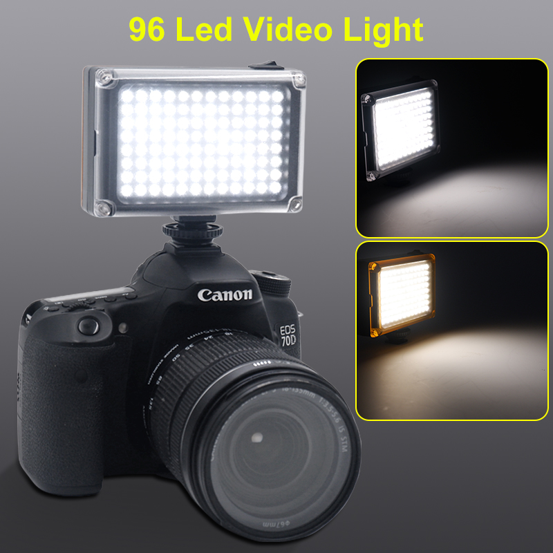 96 LED Phone Video Light Photo Lighting on Camera Hot Shoe LED Lamp for iPhoneX 8 Camcorder Canon/Nikon DSLR Camera Live Stream image