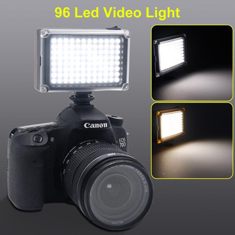 96 LED Telefon Video Licht Foto Beleuchtung auf Kamera Heißer Schuh LED Lampe für iPhoneX 8 Camcorder Canon/Nikon DSLR Kamera Live-Stream