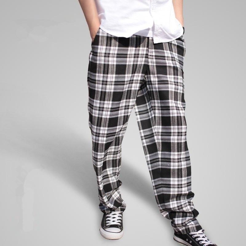 2018 New Men's Popping Locking Plaid Pants Fashionable Personality Casual Hip Hop Men Pants Big Size Baggy Harem Pants A3393