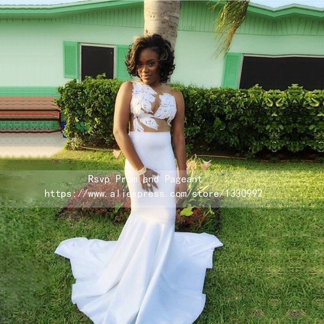 5b1bb619a20d4 Charming White Satin Lace Top Long Prom Dresses for Black Girl Sleeveless  See Through Sheer O neck Mermaid African Prom Dress