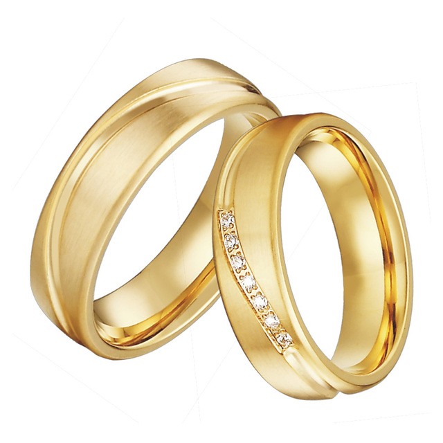 Gold Color Wedding band Couple Rings Men Alliance Anel Anillos Bague Eheringe Jewelry Engagement Rings for Women