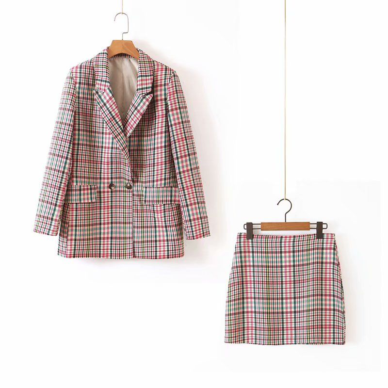 Women Suit Fall 2019 New Fashion Plaid Blazer And Mini Skirt Office Lady Autumn Outwear Bottom Sets