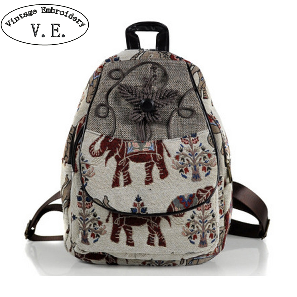 Travel Rucksack Us 22 65 46 Off Vintage Embroidery Chinese Women Canvas Backpack Elephant Embroidered Backpacks Travel Rucksack Schoolbag Woman Mochila In Backpacks