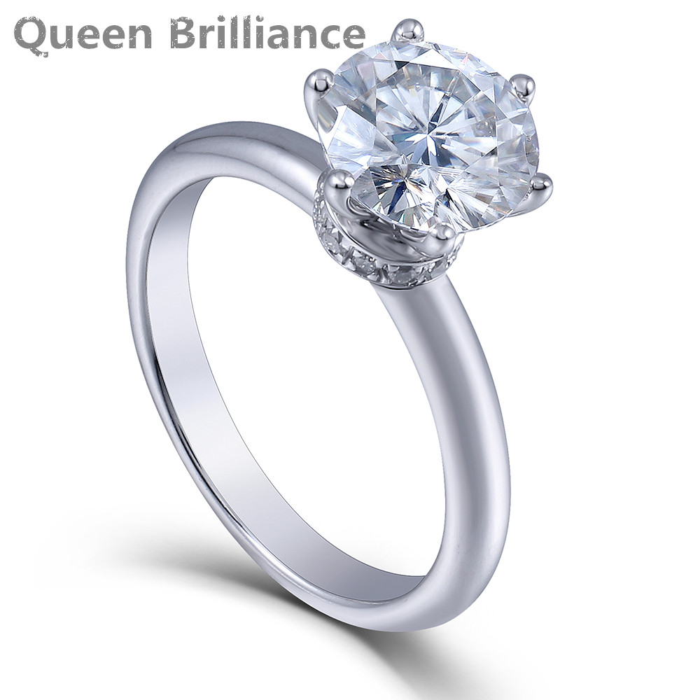 Queen Brilliance 2ct diameter 8mm H Color Moissanite Diamond Engagement Wedding 925 Silver Ring Plated Sterling Ring for Women haggard h queen sheba's ring