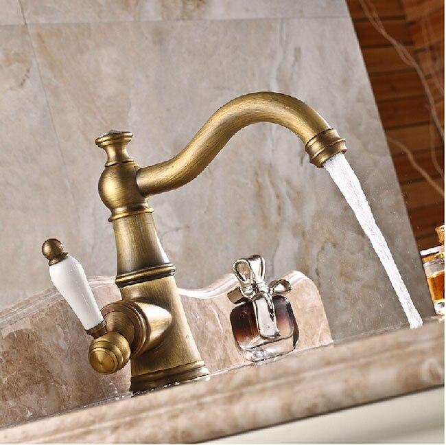 Antique Brass Single Ceramic Handle Basin Faucet Taps Deck Mount Long Neck Bathroom Mixer Taps