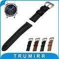 22mm faixa de relógio de couro genuíno para samsung gear clássico s3/frontier buckle strap pulseira pulseira cinto de aço inoxidável