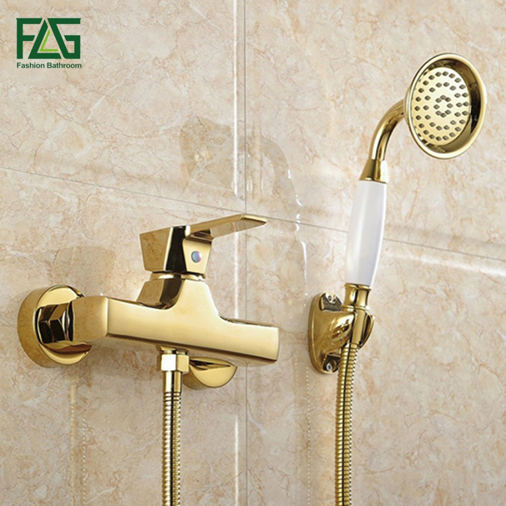 FLG Concise Wall Mounted Bathroom Faucet Bath Tub Mixer Tap With Ceramic Handle Hand Shower Head Gold Plated Shower Faucet HS037 free shipping bathroom shower gold color faucet bath faucet mixer tap with hand shower head set wall mounted is698