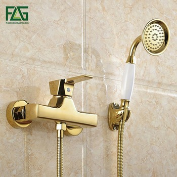 FLG Concise Wall Mounted Bathroom Faucet Bath Tub Mixer Tap With Ceramic Handle Hand Shower Head Gold Plated Shower Faucet HS037