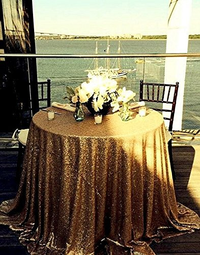 Round 48 132 Choose Your Size Gold Sequin Tablecloth