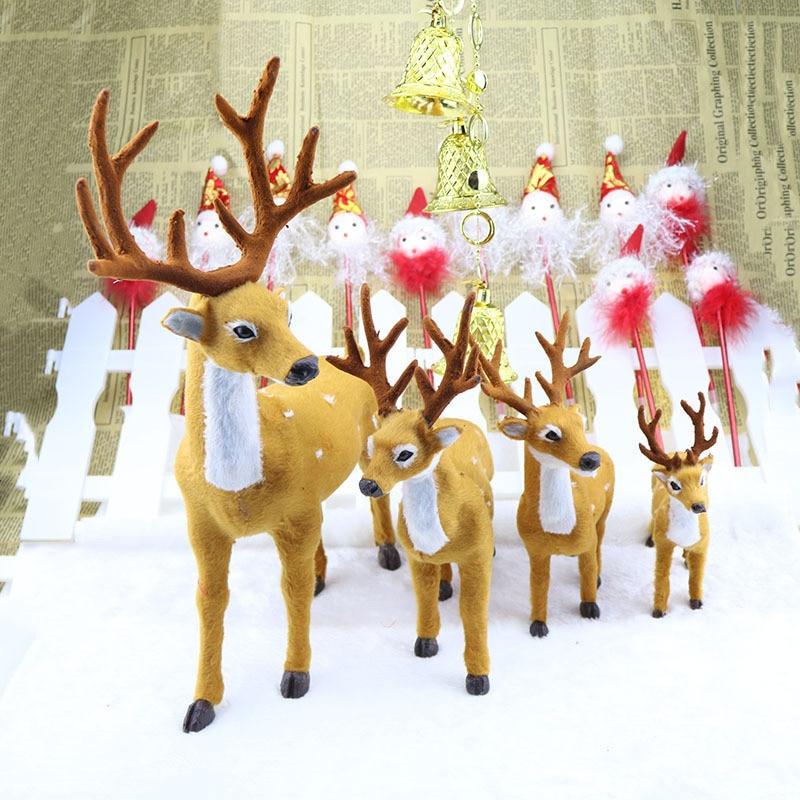 Ny 1st Xmas Elk Plush Simulering Nytt År Juldekorationer Julprydnader för Hem Julklapp Navidad Noel, T
