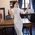 Blanco Nuevo Vestido Largo Delgado Del Cheongsam Chino Damas De Encaje Tradicional Qipao de La Novedad Flor Sexy Vestido de Tallas M L XL XXL F092001