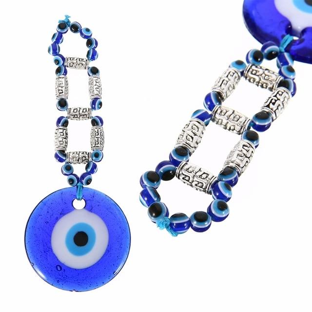 9049afa3ff457 Novo Azul Contas de Vidro Mal Olho Grego Turco Mayitr Parede Pendurado  Amuleto Charme Pingente de