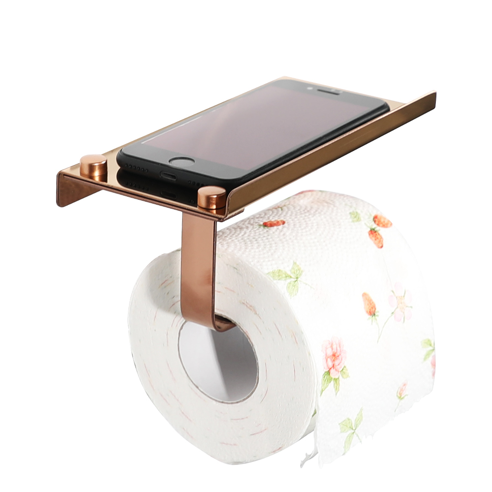 2018 beautiful practical rose gold Multi-purpose toilet paper roll holder bathroom stainless steel paper holder free shipping 1