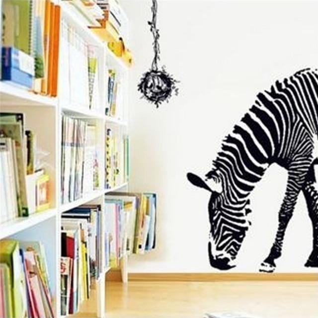 Nenew arrival fashion huge black animal zebra bird nest removable print mural art decal wall sticker