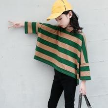 Блузка с длинными рукавами для девочек свитер в полоску г., модная свободная футболка детская одежда для девочек-подростков 6, 8, 10, 12, 14 лет