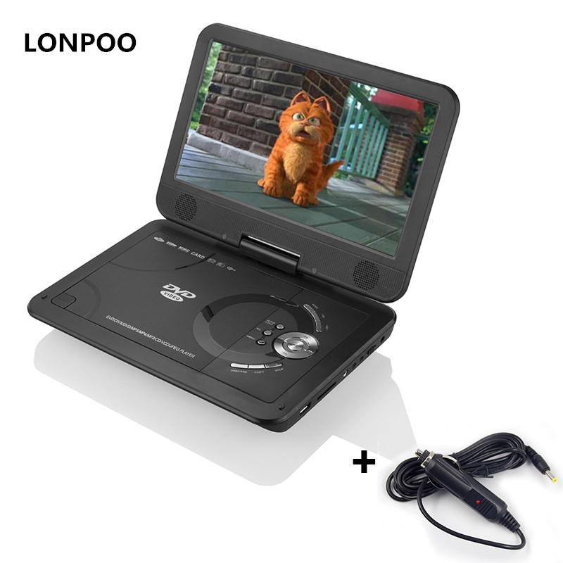 LONPOO Portable DVD Player 10.1 Swivel DVD Player RCA Car Charger Portable TV Portatil USB DIVX Portail DVD Player with Battery жертвуя пешкой dvd