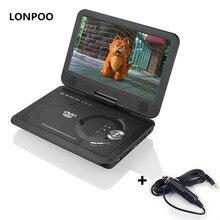 Lonpoo Портативный dvd-плеер 10.1 поворотный dvd-плеер RCA автомобиля Зарядное устройство Портативные телевизоры portátil USB divx portail dvd плеер с Батарея
