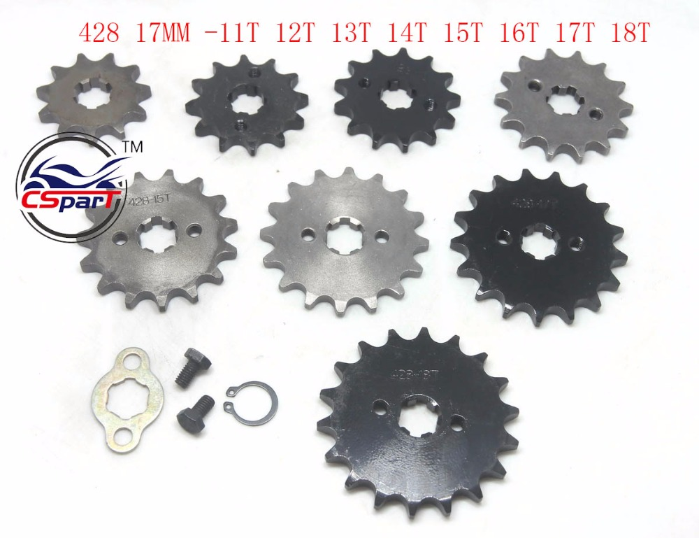 428 15T 15 Teeth 17 MM Front Engine Sprocket For 50 70 90 110 125 cc Taotao ATV Sunl gokart
