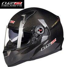 Original LS2 ff396 Kohlefaser motorcgcle helm für mann Full face sturzhelm mit sonnenschutz airbags pumpe moto helme