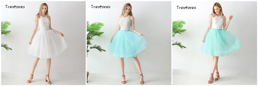 Streetwear 7 Layers 65cm Midi Pleated Skirt Women Gothic High Waist Tulle Skater Skirt rokjes dames ropa mujer 19 jupe femme 13