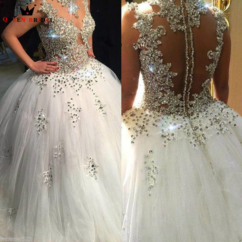 Custom Made Luxury Vintage Ball Gown Fluffy Crystal Beade Wedding Dresses Bridal Gowns Marriage Vestido De Noiva DR28