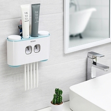 Double Automatic Toothpaste Squeezer 4 Cups Anti-dust Toothbrush Holder Rack Set