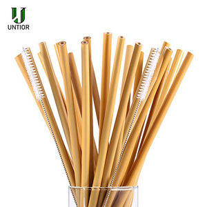 Image 2 - UNTIOR 50 шт/100 шт бамбуковая солома многоразовая солома Органическая натуральная бамбуковая Питьевая соломинка для бара вечерние аксессуары Оптовая продажа