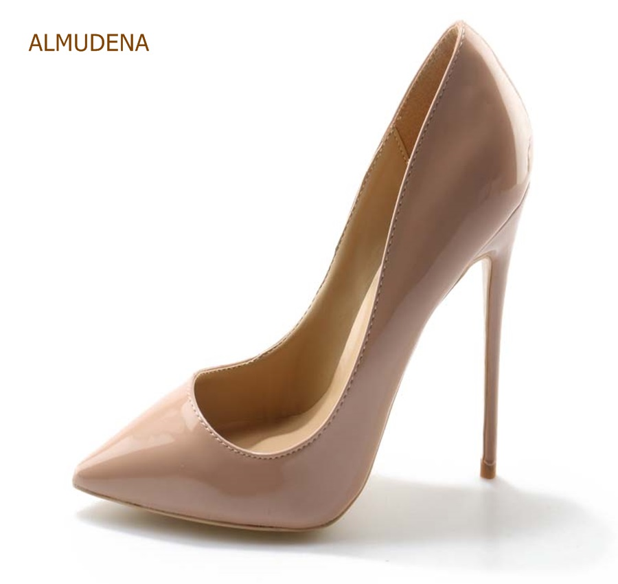 ALMUDENA Women Sexy Nude Black Red Pink Patent Leather Pointed Toe Shoes Stiletto Heels Slip-on Shallow Dress Pumps Wedding Shoe size34 39 shoes woman red pumps high heels 9 cm party wedding shoes patent leather pointed toe sexy black nude womens shoes
