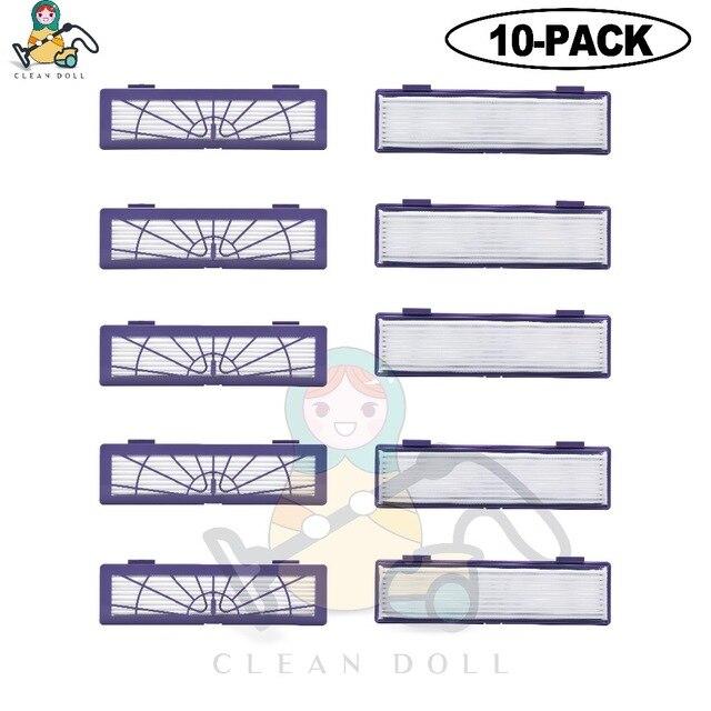 10 paquete Muñeca limpia filtro HEPA para Neato Botvac D con filtro conectado D7 D80 D85 D3 D75 D5 70e 75 80 85 Filtros de aspiradora