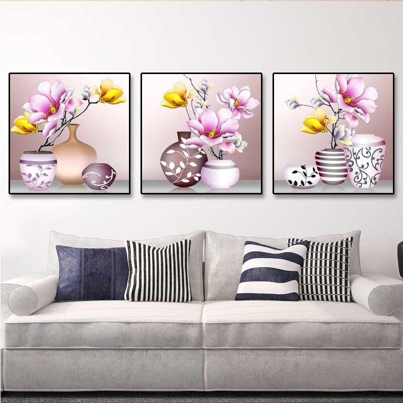 DIY Cruz chino conjuntos para kit de bordado de arte Magnolia flores ...