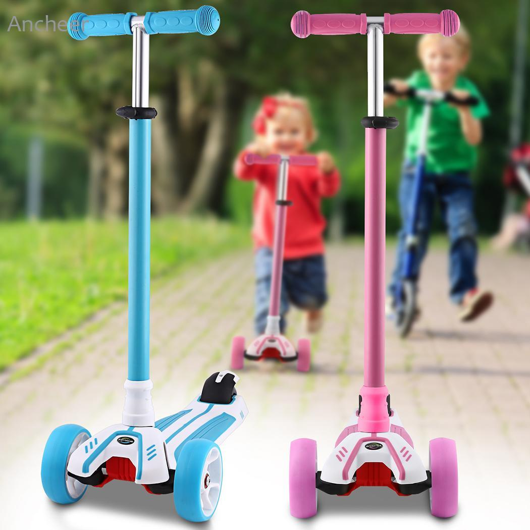 Adjustable T-shaped Kids Scooter 4 wheels Foot Kick Scooter Child Kids Children Scooters patinete With Flashing Aluminum Wheel