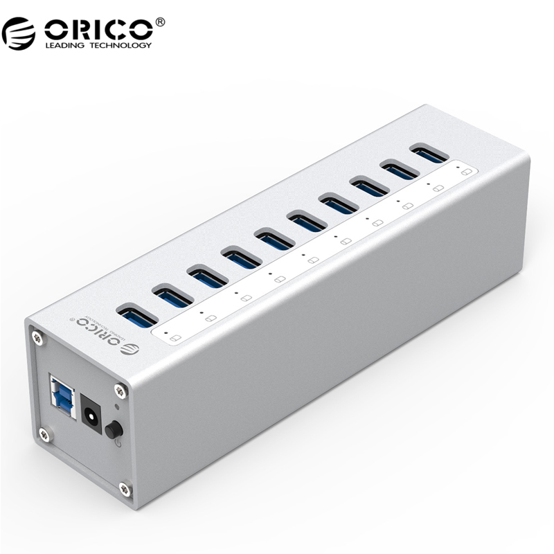 ORICO A3H10 USB 3.0 HUB  High Quality With Power Adapter Aluminum 10 Port USB 3.0 HUB - Silver orico h3ts u3 3 port multifunctional usb3 0 hub with sd